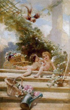 "Konstantin Egorovich Makovsky(1839-1915), ""Cupid Gardeners"""