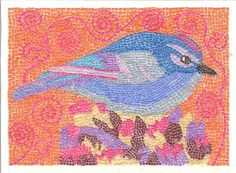 Micro paper Mosaic Blue Bird with an Orange by THEODORADESIGNS on Etsy, $375.00