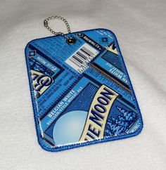 Luggage Tag from Recycled Blue Moon Belgian White Beer Labels by squigglechick on Etsy