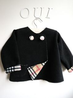 Children Coat or Jacket - Black and Tartan Double-Faced French Vegan Wool - Sizes for babies toddlers and kids from  6M to 4T - Very Warm. $35.00, via Etsy.