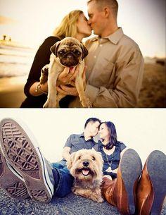 engagement photo with pet dog