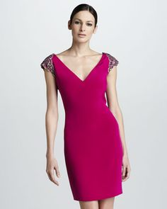 Cap-Sleeve Cocktail Dress by Notte by Marchesa at Neiman Marcus.
