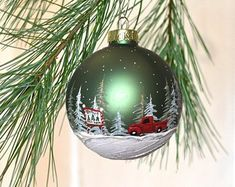 Check out our red truck Christmas decor selection for the very best in unique or custom, handmade pieces from our shops. Country Christmas Ornaments, Handpainted Christmas Ornaments, Hand Painted Ornaments, Glass Christmas Ornaments, Rustic Christmas, Christmas Art, Handmade Christmas, Christmas Tree Decorations, Christmas Bulbs