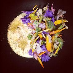 """hana"" chamomile aioli summer blossoms. To be served with crispy artichoke hearts. @brandon_kida #summertime #travelinspired #tanabata #hinokiandthebird #flowers #chefstalk #theartofplating #colorful by keikurobe85"