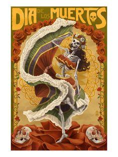 Dia De Los Muertos Konsttryck