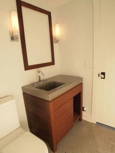 White Concrete Vanity Top With Undermount Sink Concrete