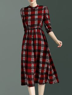 Red Vintage Polyester Midi Dress Stylewe