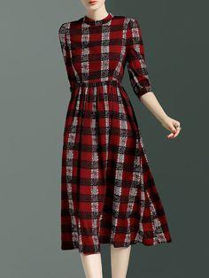 Red Vintage Polyester Midi Dress Stylewe