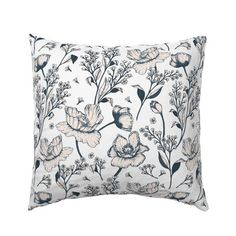 Floral Pillow Sham - Minimalistic Floral Roses Victorian White by utart - Botanical Cotton Sateen Pillow Sham Bedding by Spoonflower Pillow Shams, Pillow Covers, Floral Throw Pillows, Cozy Bed, Natural Texture, Basket Weaving, Surface Design