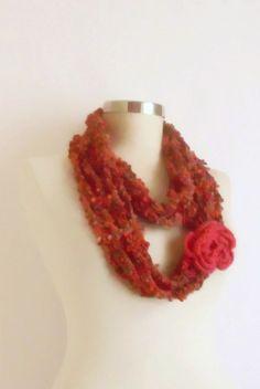 Crochet Scarf  Knit FREEFORM  mohair by modelknitting on Etsy, $24.00