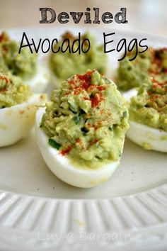 Deviled Avocado Eggs 3 hard boiled eggs, cut in half  1 large avocado  2 tsp lime juice  1 tsp cilantro  Pinch of garlic powder, salt and pepper  Sprinkle with paprika,