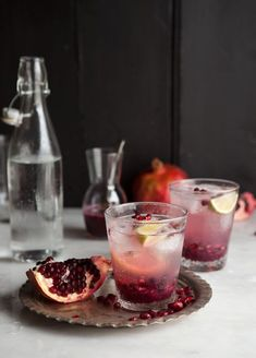 pomegranate and ginger spritzer on DrizzleandDip.com #drinks #recipes #foodphotography