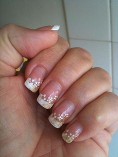 French Style Wedding Manicure with White Flowers