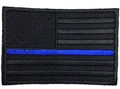Patch Squad Men s Black USA Flag Blue Line Embroidered Patch 182bafd1904e