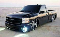 Silverado Single Cab, 2008 Chevy Silverado, Custom Silverado, Dropped Trucks, Lowered Trucks, Dodge Trucks, Cool Trucks, Cool Cars, 26 Inch Rims