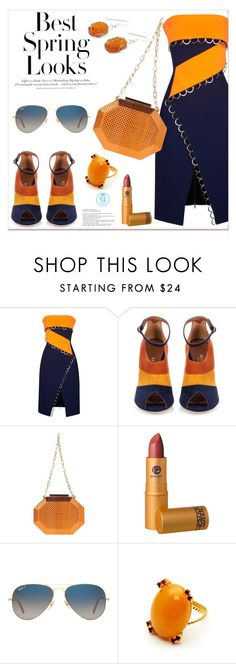 """Spring Look"" by queenvirgo ❤ liked on Polyvore featuring Thierry Mugler, H&M, Malone Souliers, Volum, Lipstick Queen, Ray-Ban and Be-Jewelled"