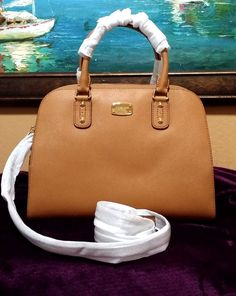 4cc9f2143 Michael Kors MK Saffiano Leather Large Acorn Satchel Crossbody Bag 398 for  sale online | eBay