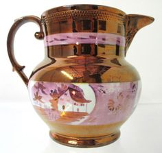 Nice Antique Old English Copper Lustre Pitcher Sunderland Pink House Scene yqz English China, Old English, Lavenders Blue Dilly Dilly, Copper And Pink, English Pottery, Lavender Green, Water Into Wine, Pink Houses, Sunderland