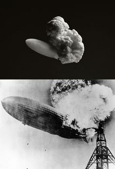 The Hindenberg airship disaster in 1937 recreated with cauliflower