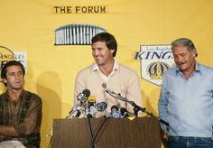 Jerry West speaks at a 1981 press conference as Pat Riley and Jerry Buss look on. The Lakers won 10 championships under the ownership of Buss, who passed away one year ago today at the age of (Manny Millan/SI) Jerry Buss, Pat Riley, Kareem Abdul Jabbar, Sports Fanatics, Magic Johnson, Larry Bird, Busses, Los Angeles Lakers, Basketball
