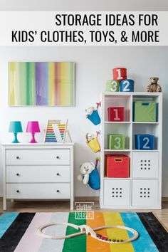 Discover step-by-step instructions for how to organize your kid's room. Find easy toy and clothes storage solutions in this kids room organization guide. #clutterkeeper Kids Room Paint, Room Paint Colors, Clothes Storage Solutions, Kids Room Furniture, Kids Room Organization, Declutter Your Home, Kids Storage, Baby Room Decor, Kids Bedroom