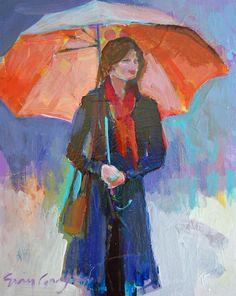 Rainy Day Girl - oil by ©ErinFitzhugh Gregory - www.efgart.com/figure-paintings.html