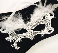 Great Gatsby Mask Embroidered lace feather crystal mask