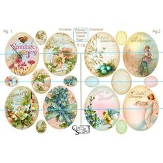 Victorian Easter Eggs Style B Includes 2 Re Sizeable Printable Sheets You Can Print Single Or Double Sided With A Tag Back Large Are And Sm