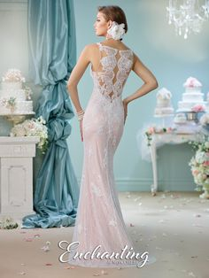 Enchanting by Mon Cheri - 116144 - Sleeveless hand-beaded lace fit and flare gown with spaghetti straps, deep plunging sweetheart neckline with illusion modesty panel, unique illusion and lace back, sweep train.  Sizes:0 – 20  Colors:White/Nude, White