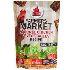 PLATO FARMERS MARKET NATURAL CHICKEN & VEGETABLES DOG TREATS 14OZ - BD Luxe Dogs & Supplies