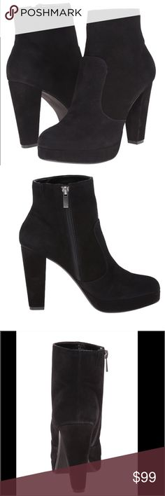 Steve Madden Black Suede Boots Steve Madden Black Suede Boots.  NWT.  Embrace the classic look of the Rancee boot!  Leather upper. Side-zip closure. Detailed stitching. Round-toe. Synthetic lining. Lightly padded footbed. Man-made outsole. Wrapped heel.  Measurements: Heel Height: 4 in Weight: 14 oz Circumference: 10 1⁄4 in Shaft: 6 1⁄2 in Platform Height: 3⁄4 in Steve Madden Shoes Ankle Boots & Booties