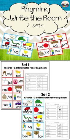 Rhyming Write the Room:  2 sets of cards with 2 differentiated recording sheets $