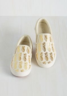 Tropical Illusion Slip-On Sneakers. These ivory flats by artist collab brand BucketFeet can transform a simple outfit into an edgy and unique appearance, and thats no joke. #cream #modcloth