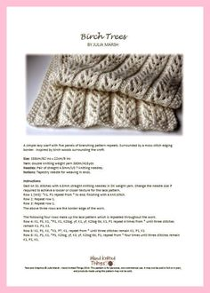 Ravelry: Birch Trees Scarf pattern by Julia Marsh Easy Scarf Knitting Patterns, Knitting Stiches, Lace Knitting, Knit Patterns, Knit Crochet, Finger Knitting, Knit Cowl, Crochet Granny, Hand Crochet