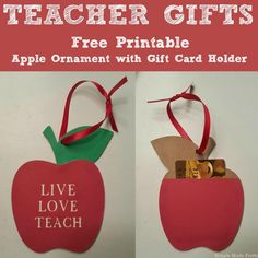 Free printable apple ornament with gift card insert