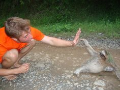 Love this picture of my son and a SLOTH!  (Panama - Red Frog Beach) 2009