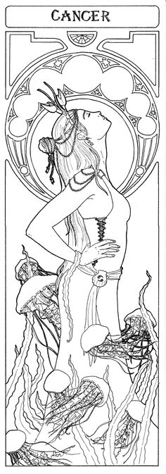 Tattoos Discover About the Water Signs: Cancer Scorpio and Pisces Colouring Pages, Adult Coloring Pages, Coloring Books, Mandala, Cancer Tattoos, Cancerian, Constellation Tattoos, My Zodiac Sign, Cancer Zodiac Signs
