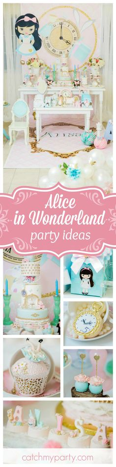 Don't be late for this important date to this gorgeous Alice in Wonderland birthday party. Love the cupcakes!! See more party ideas and share yours at CatchMyParty.com