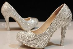 Clear Crystal wedding shoes bridal shoes sparkly prom shoes women high heels prom shoes party shoes Bling wedding shoes bridal heels