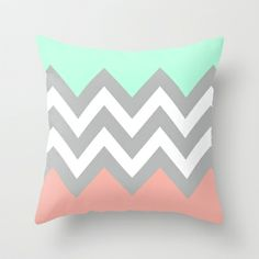 DOUBLE COLORBLOCK CHEVRON {MINT/CORAL/GRAY} Throw Pillow by natalie sales - $20.00