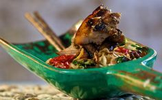 Marinated Barbecued Pork with Hot Noodle Salad Recipe by Reza Mahammad : Food Network UK