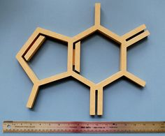 Wood Caffeine Molecule Wall Hanging Chemistry Geek Coffee Addict Abstract Gift