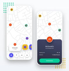 Location App iOS & Android UI Kit Template 1 by panoplystore on Envato Elements Design Android, Design Ios, Android Ui, Android Tricks, Flat Design, Ui Kit, Design Thinking, Wireframe Mobile, App Map