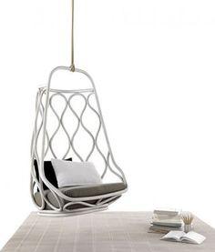 really cool mod hanging rattan chair