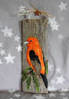 Scarlet Tanager, bright colored bird, artwork on Ozarks barnwood, 3 x Wood Pallet Art, Reclaimed Wood Art, Pallet Painting, Tole Painting, Painting On Wood, Picket Fence Decor, Fence Art, Mini Paintings, Driftwood Crafts