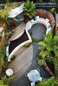 poolside garden and patio