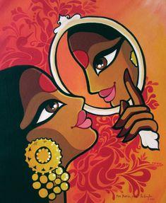 'Mirror Mirror Version II', 2016 by Niloufer Wadia - Painting Acrylic. Rajasthani Painting, Rajasthani Art, Indian Art Paintings, Modern Art Paintings, Abstract Paintings, Oil Paintings, Madhubani Art, Madhubani Painting, Bengali Art