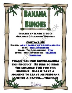 Banana Bunches FFG - Greater Than/Less Than 50 from The-Schoolhouse on TeachersNotebook.com -  (7 pages)  - This is a file folder game (ffg) for sorting numbers (banana bunches) between greater than or less than 50.