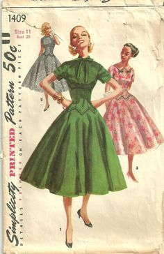 Simplicity 1409 Vintage 50s Sewing Pattern. $16.50, via Etsy.