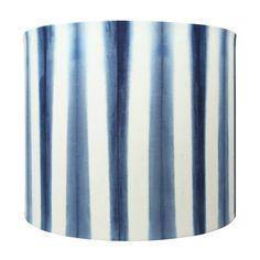 "Handmade 100% Cotton Indigo Shibori Vertical Stripe Designer Lampshade. 12"" width x 10"" height. 1/2"" recess Top frame."